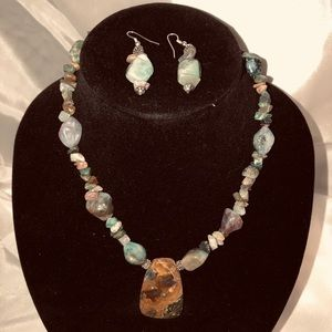 Handmade stone necklace and earring set